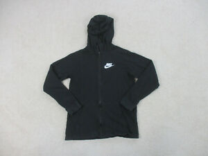 Nike Sweater Girls Extra Large Black Spell Out Swoosh Logo Hoodie Youth B13