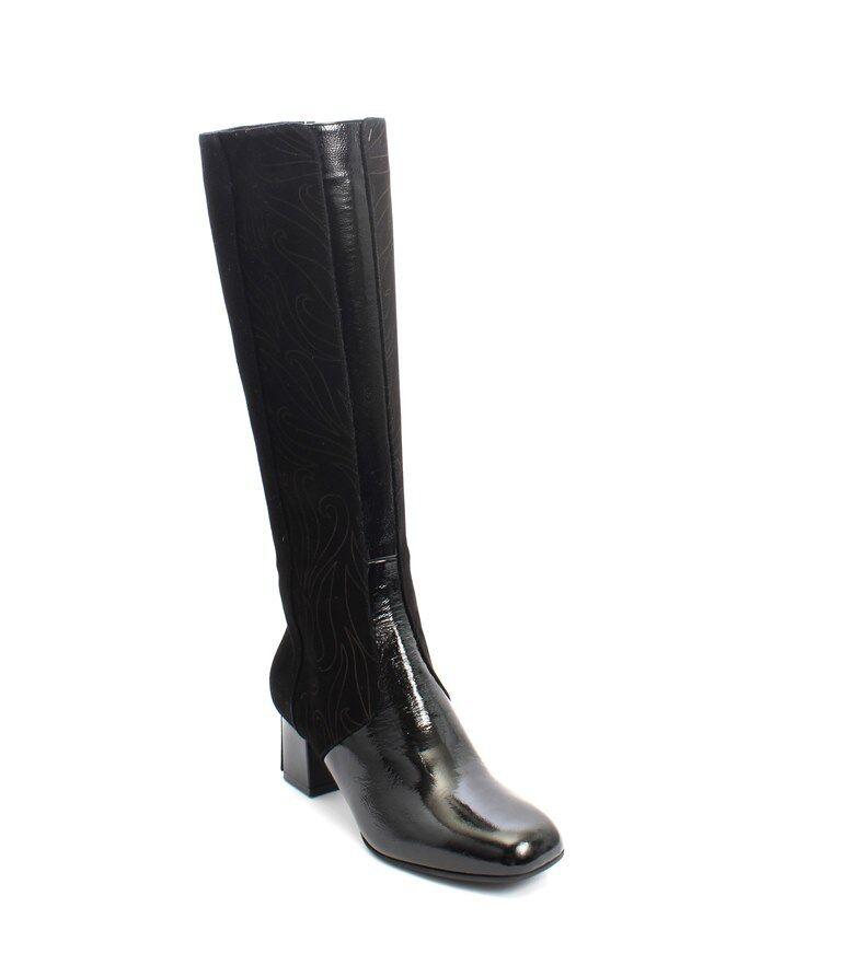 GIBELLIERI 3386 F Negro Gamuza patente Shearling Piel Knee Knee Knee High bota 37 US 7  Venta en línea de descuento de fábrica