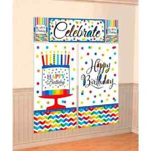 Bright Birthday Party Cake Celebrate Backdrop Scene Setter Wall Decorating Kit