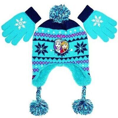 Disney Frozen Girls Purple Knit Scandinavian Hat /& Gloves Set