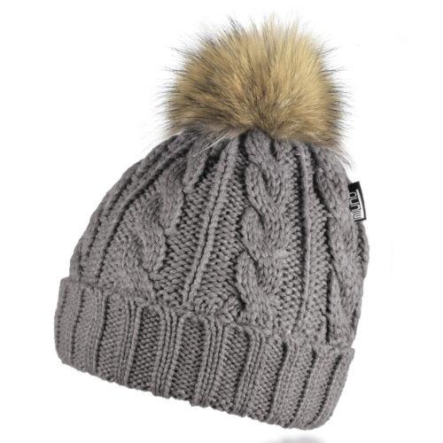 Véritable synthetique pompon Bonnet Motif torsade tricot Casquette avec teddy Doublure mz161