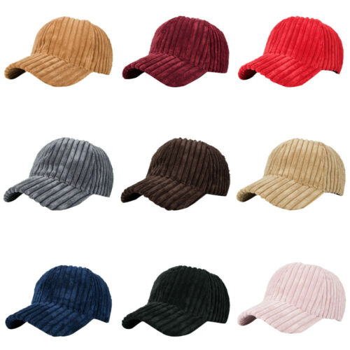 Women Men Plain Casual Corduroy Baseball Cap Adjustable Snapback HipHop Flat Hat
