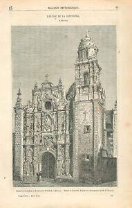 Eglise-de-la-Santissima-Trinidad-Mexico-Mexique-GRAVURE-ANTIQUE-OLD-PRINT-1863