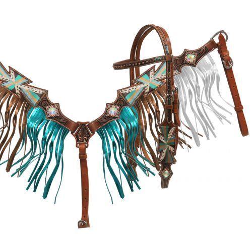 Showman Painted CROSS Browband Bridle Metallic FRINGE Breast Collar /& Reins SET