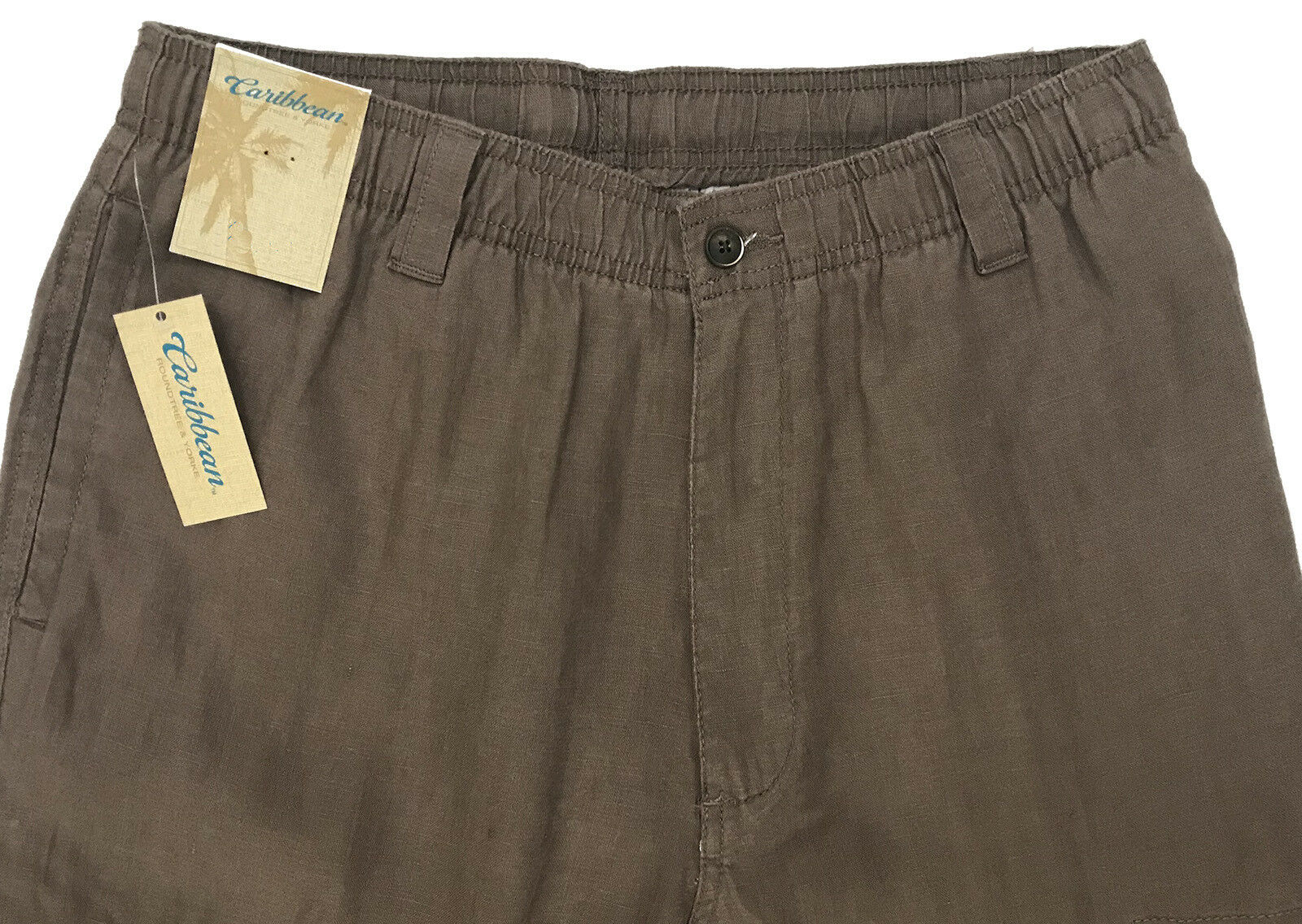Men's CARIBBEAN Dusty Brown LINEN Drawstring Pants 38x30 NEW NWT Cargo NICE