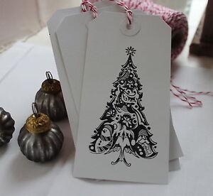 10 Handmade  Christmas Tree Gift Tags  White Tags