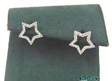 14k White Gold Star Diamond Designer Earrings