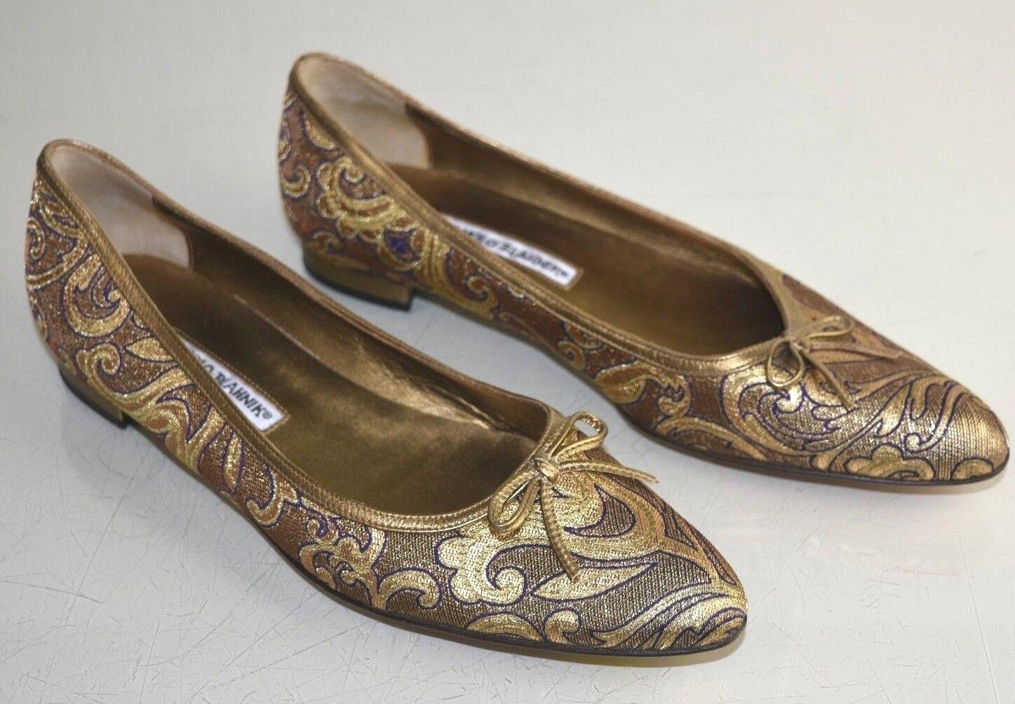 Neuf Manolo Blahnik Plats Cuir or Jacquard Nœud Plat Chaussures Violettes 38