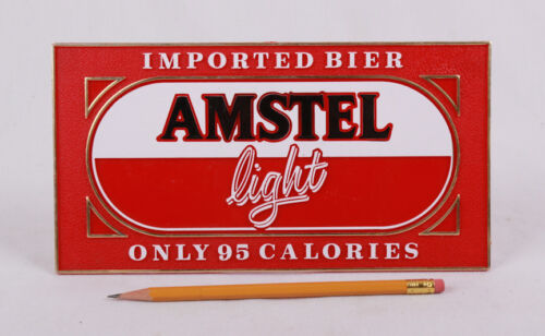 "Amstel Light Imported Bier Beer Plastic Stand Up Sign, 9.5""x5"", Embossed"