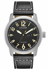 Citizen BM8471-01E Mens Eco-Drive Leather Strap Day/Date 42mm Black Dial Watch