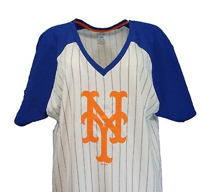 63889495 New York Mets MLB Majestic Women's Pinstripe Raglan V-Neck T-Shirt, ...