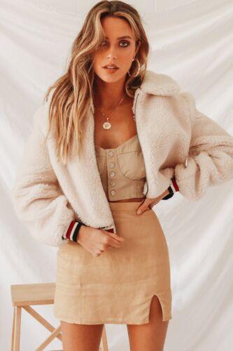 Womens Teddy Bear Coat Ladies Faux Fur Borg Zip Short Bomber Jacket Plus Size