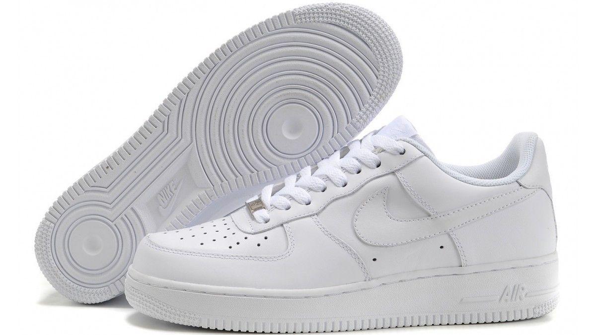 NIKE AIR FORCE 1 GS scarpe donna scarpe da ginnastica basse running sportive pelle bianche