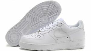 NIKE AIR FORCE 1 GS scarpe donna sneakers basse running sportive pelle bianche
