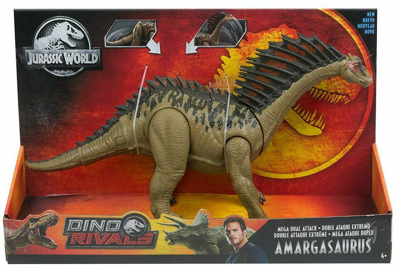 Jurassic World Mega doble ataque Amargasaurus Figura Dinosaurio Dinosaurio rivales