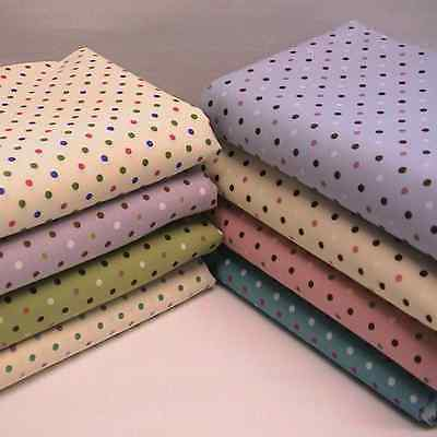 POLKA DOT FABRIC HALF METRE 3MM SPOTS 100% COTTON, RAINBOW COLOURED SPOTTED.
