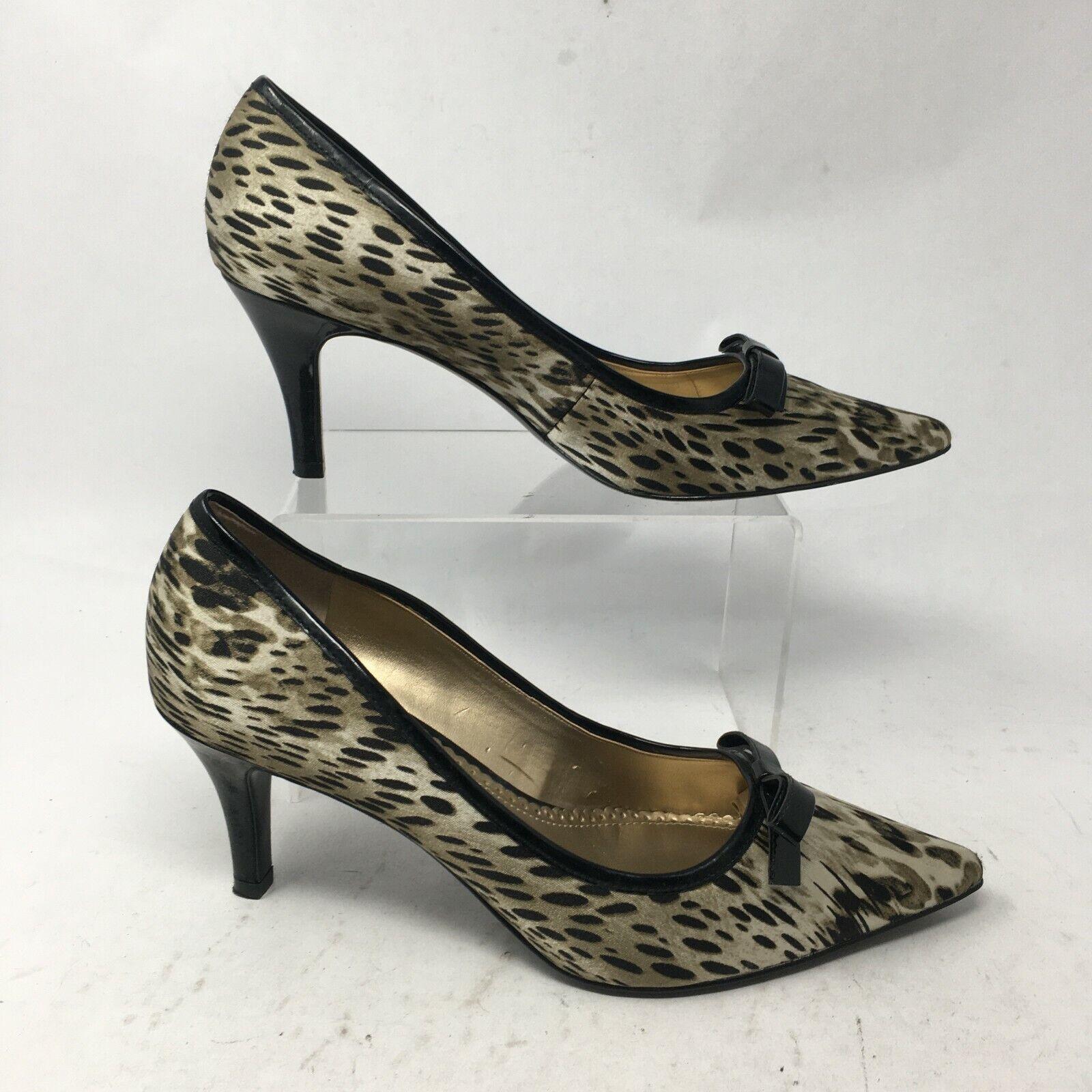 Anne Klein Womens 8.5M Witney Cheetah Print Pumps Stiletto Heels Pointed Toe Bow