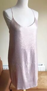 493eda5f74 Image is loading Zara-Pink-Rose-Gold-Sequin-Strappy-Dress-Size-