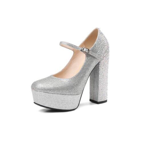 de imitación Tacones Zapatos para con cuero de real Brillo alto Correa Hebilla diamantes de tacón mujer Bombas AYSRxSdqw