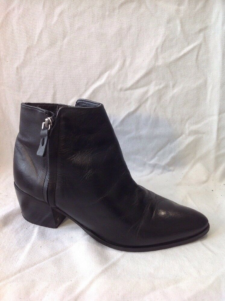 Top Shop Black Ankle Leather Boots Size 38