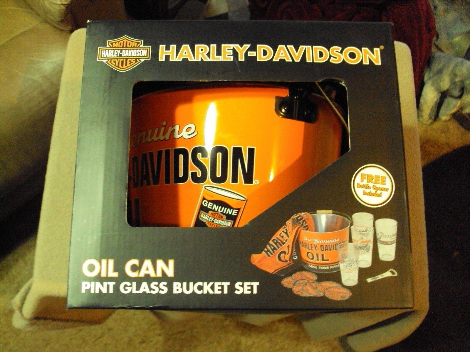 Harley-Davidson Aceite pinta Sistema De Cristal, cubo de hielo, 4 Vasos, Bar Toalla & Abridor