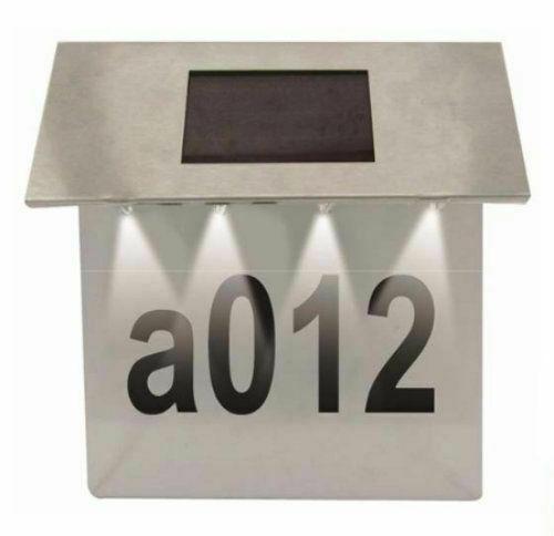 Solar Powered House Door Number Light Wall Plaque Doorplate Modern Lamp 4LED