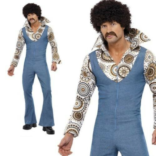 60s 70s Groovy Dancer Disco Costume Retro Mens Fancy Dress Jumpsuit Outfit