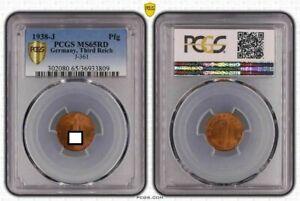 1 Pfennig 1938 J.361 Fresh Mint Condition, PCGS MS65RD (5)