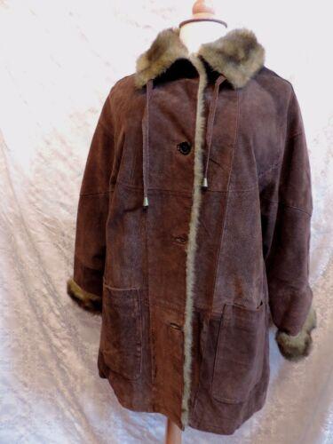 scamosciata 70 pelle in 340 in di Giacca 44 cuoio 42 vintage Cappotto Ref marrone pelliccia vTwYTS