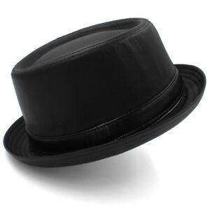 Men Women Black Leather Pork Pie Hats Boater Caps Sailor Sunhat US ... 124c259c509
