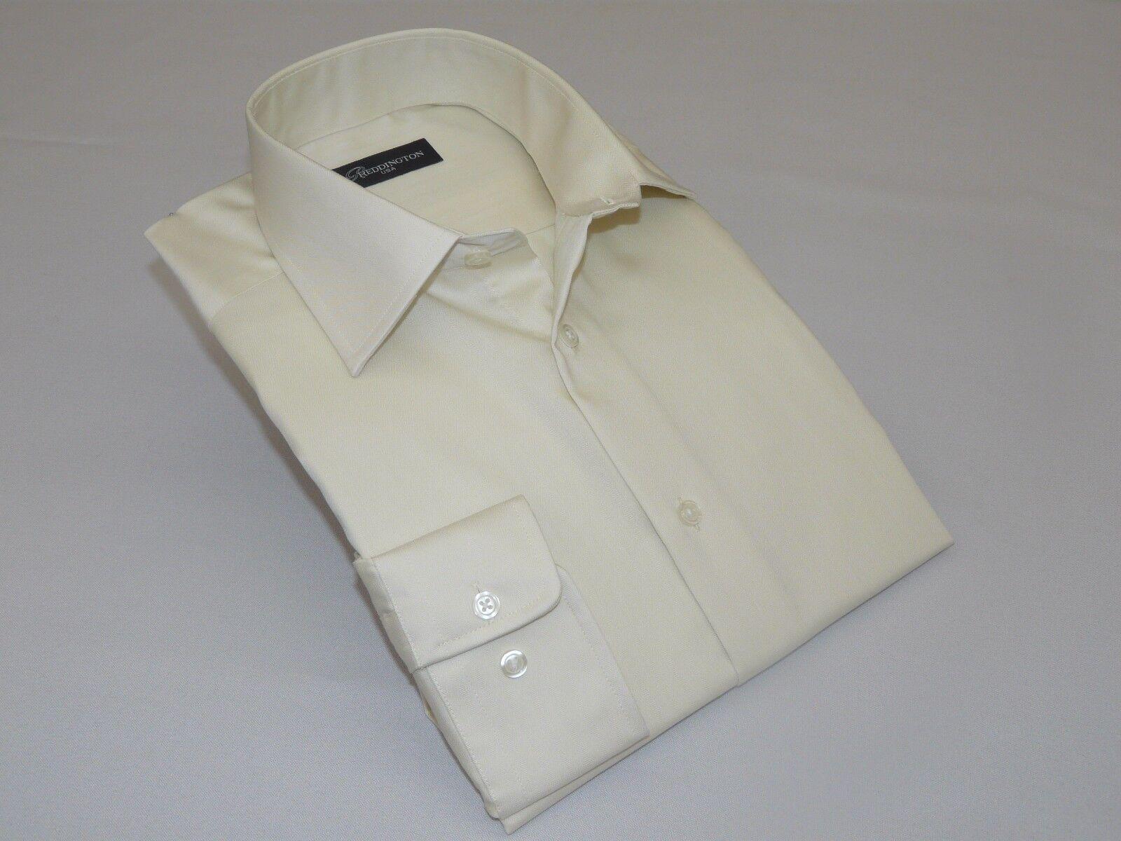 Mens REDDINGTON 100% Satin Cotton Shirt Barrel Cuffs Wrinkle resistance A9 Ivory