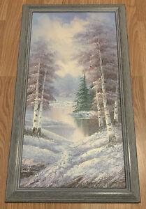 "Vintage Oil Painting On Canvas Signed 27""x15"" Winter Landscape, Folk"