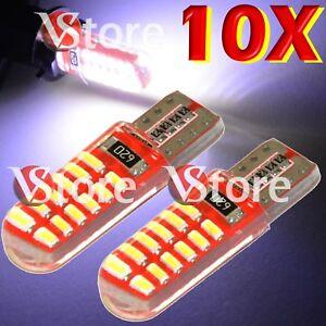 10-Lampade-Led-T10-Canbus-24-SMD-3014-Silicone-Luce-Posizione-Targa-BIANCO-12V