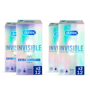 Durex Condones Invisible Extra Lubricado 2x12 + Durex Invisible Super Finos 2x1