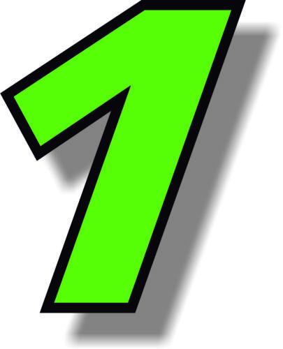 Numero verde 6 in (ca. 15.24 cm) Race con bordo nero