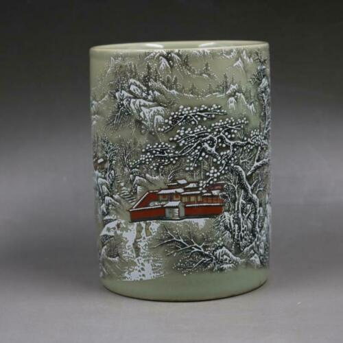 Chinese old porcelain Pink Porcelain Snow Scenery Penholder