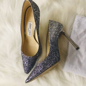 sale latest design premium selection Details about Jimmy Choo Romy Navy to Silver Ombre Glitter 100mm Heel 5 35.5