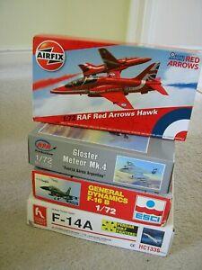 Job lot 1/72 scale JETS Tomcat Hawk Meteor F-16 ** x 4 kits **
