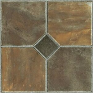 vinyl floor tiles self adhesive peel and stick slate bath kitchen flooring 12x12 ebay. Black Bedroom Furniture Sets. Home Design Ideas