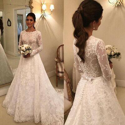 Modern Wedding Dresses Long Sleeve Jewel Neck Princess Church Garden Bridal Gown