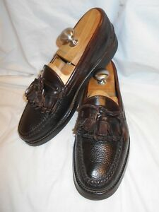 Excellent-E-T-Wright-Men-039-s-Brown-Pebbled-Leather-Kiltie-Tassel-Bow-Loafers-10-5A