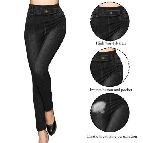 Damen Stretch Jeans Hose Stoffhose Skinny Leggings Leggins Treggings Jeggings