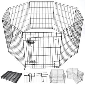 "30"" Pet Dog Playpen Exercise Fence Cage Kennel w/ Door 8 Panel Outdoor Indoor"