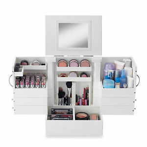 Image Is Loading Deluxe Cosmetic Organizer Makeup Wood Case Holder Display
