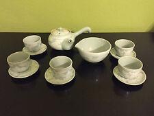 Korean Celadon Jade Green Porcelain Tea Cup/Saucer/Teapot/Cooling Bowl Set VTG