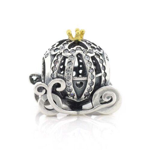 Argent Sterling 925 Cinderella Pumpkin Coach Clair Zircone Cubique Charme Fi Européenne Bracelet