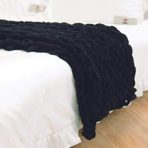 Clootess Chunky Knit Blanket Chenille Throw - Warm, Soft, & Cozy (Black 40x40in)