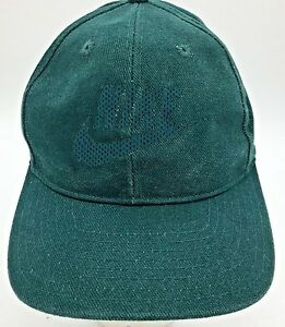 7e6b165cd Details about Vintage Nike Green Spell Out Embossed Swoosh Logo Snapback  Hat Green Underbrim