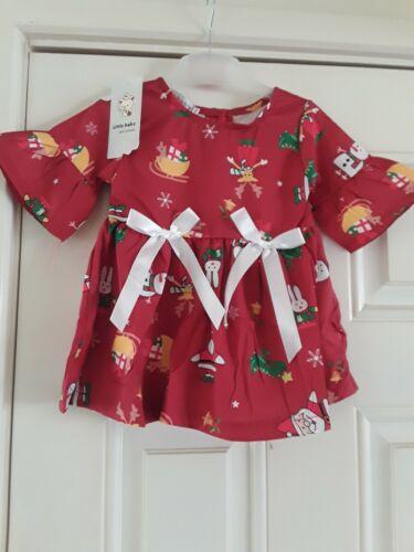 Bébé Fille Noël Superbe Satin Party Romany robe style 6-9 mois