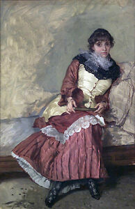 Hand-painted-Oil-painting-Francesco-Jacovacci-young-girl-sitting-on-sofa